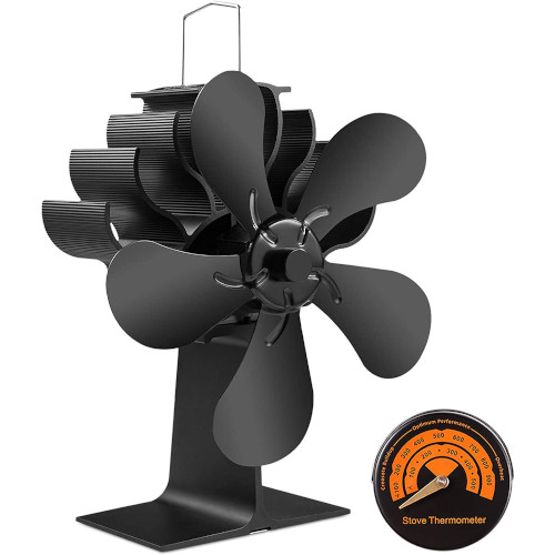 5 Blades Wood Burning Stove Fireplace Fan - Improved PYBBO Silent Motors Heat Powered Circulates Warm/Heated Air review
