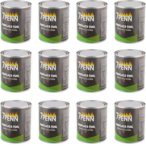 7Penn Gel Fireplace Fuel Cans, 13oz - 12 Pack Fire Pit Gel Fuel Cans for Fireplace, Fire Bowls, and Chafing Dishes review