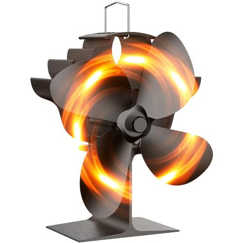 OCROUKI Wood Stove Fan,4 Blades Heat Powered Stove Fan,Silent Heat Powered Fireplace Fan review