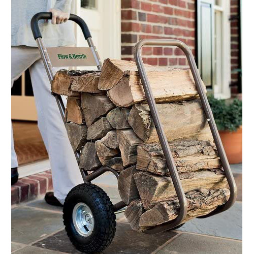 """Plow & Hearth Indoor Outdoor Rolling Firewood Log Cart, Wood Rack and Carrier with Pneumatic Wheels, Heavy-Duty, Rolls Up and Down Stairs, All-Terrain, 20""""W x 22""""D x 42""""H review"""